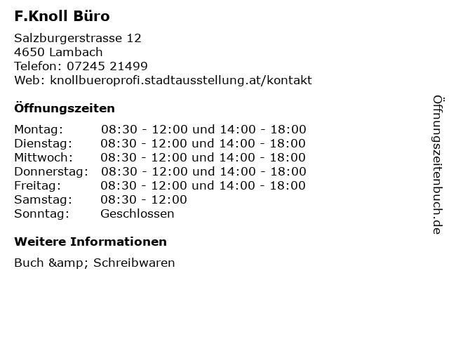 F.Knoll Büro in Lambach: Adresse und Öffnungszeiten