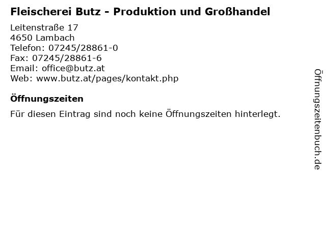 Fleischerei Butz - Produktion und Großhandel in Lambach: Adresse und Öffnungszeiten