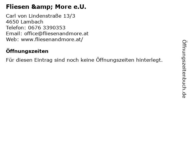 Fliesen & More e.U. in Lambach: Adresse und Öffnungszeiten