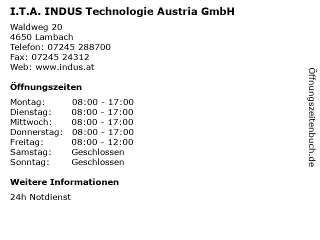 I.T.A. INDUS Technologie Austria GmbH in Lambach: Adresse und Öffnungszeiten