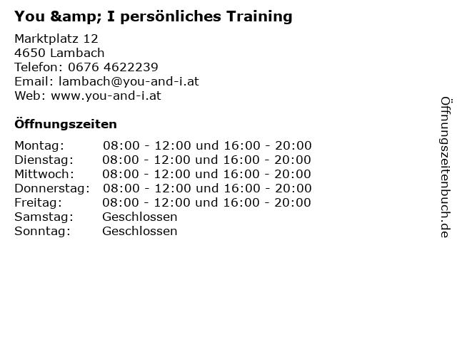 You & I persönliches Training in Lambach: Adresse und Öffnungszeiten