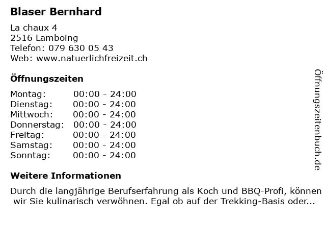 Bernhard Blaser in Lamboing: Adresse und Öffnungszeiten