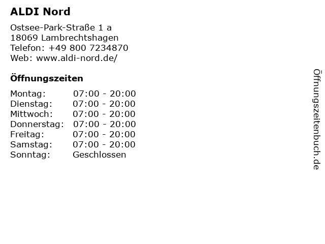 ALDI Nord in Lambrechtshagen: Adresse und Öffnungszeiten