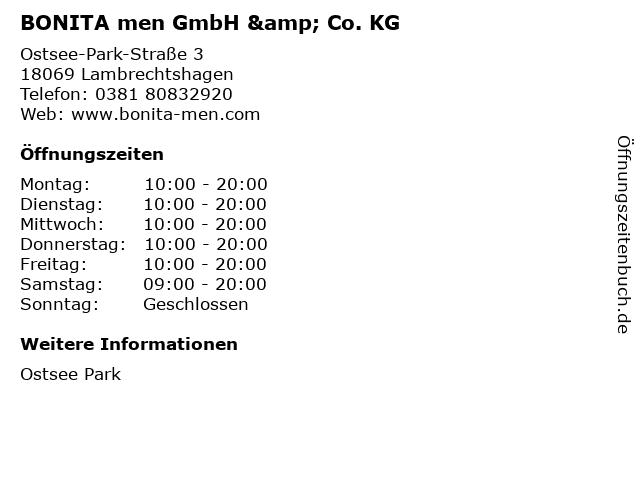 BONITA men GmbH & Co. KG in Lambrechtshagen: Adresse und Öffnungszeiten