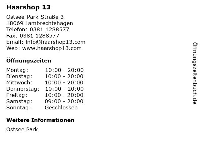 Haarshop 13 in Lambrechtshagen: Adresse und Öffnungszeiten
