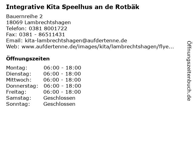 Integrative Kita Speelhus an de Rotbäk in Lambrechtshagen: Adresse und Öffnungszeiten