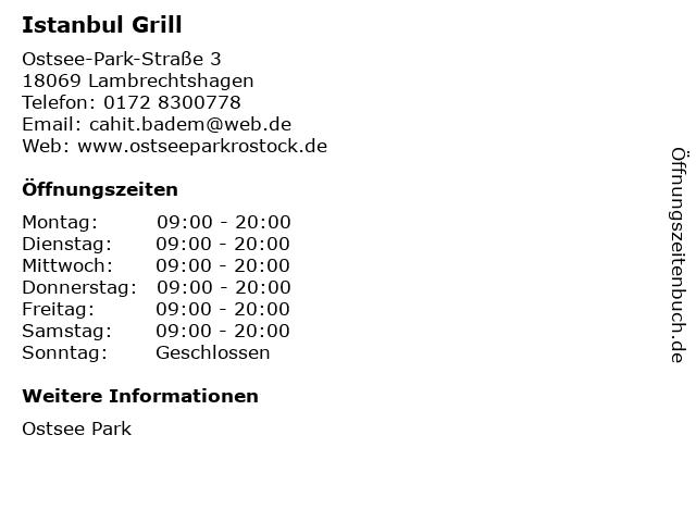 Istanbul Grill in Lambrechtshagen: Adresse und Öffnungszeiten
