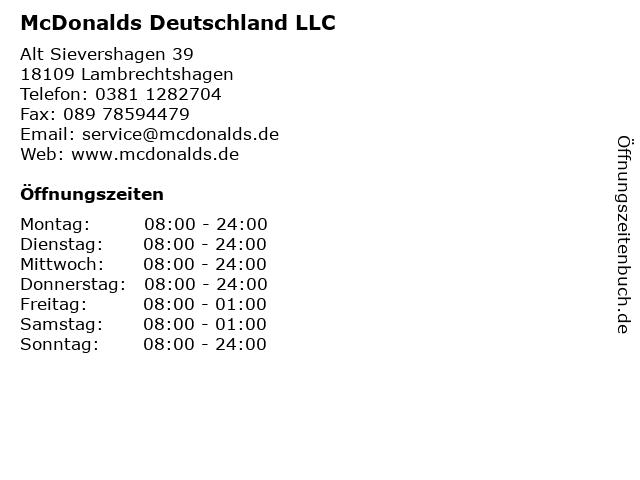 McDonalds Deutschland LLC in Lambrechtshagen: Adresse und Öffnungszeiten