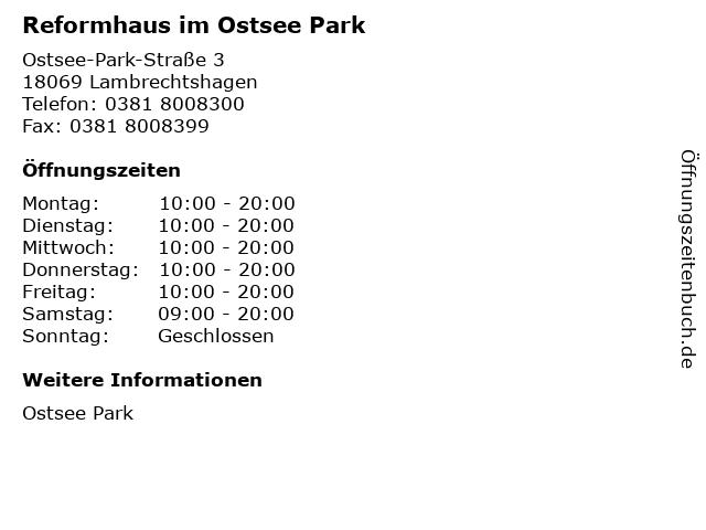 Reformhaus im Ostsee Park in Lambrechtshagen: Adresse und Öffnungszeiten
