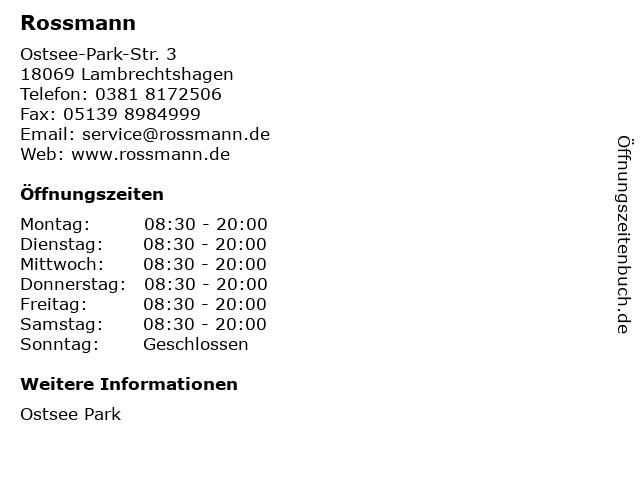 Rossmann in Lambrechtshagen: Adresse und Öffnungszeiten