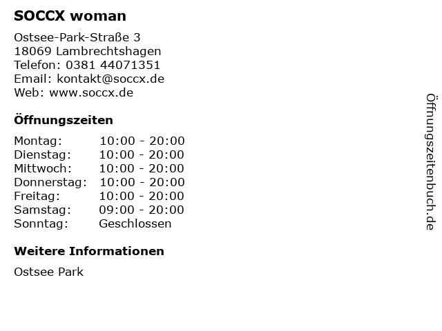 SOCCX woman in Lambrechtshagen: Adresse und Öffnungszeiten