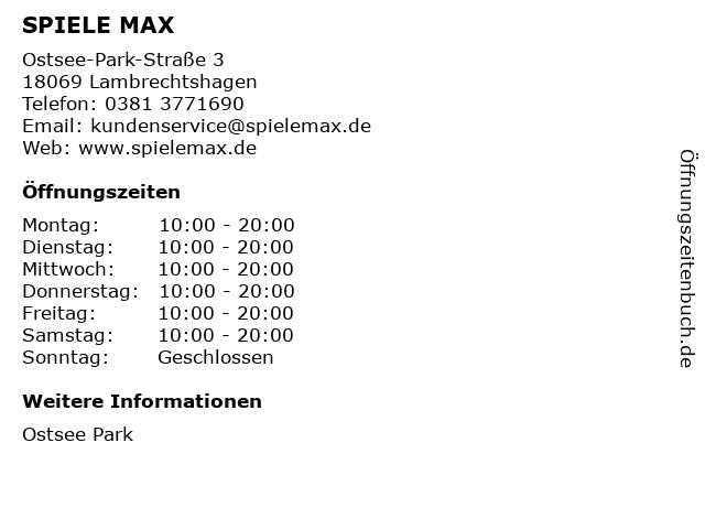 SPIELE MAX AG in Lambrechtshagen: Adresse und Öffnungszeiten