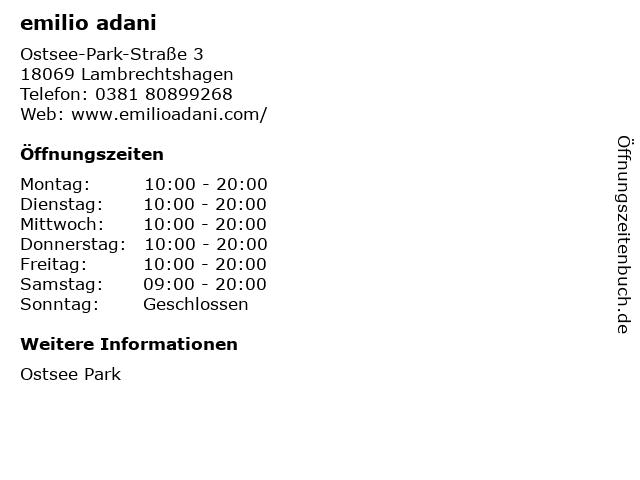 emilio adani in Lambrechtshagen: Adresse und Öffnungszeiten
