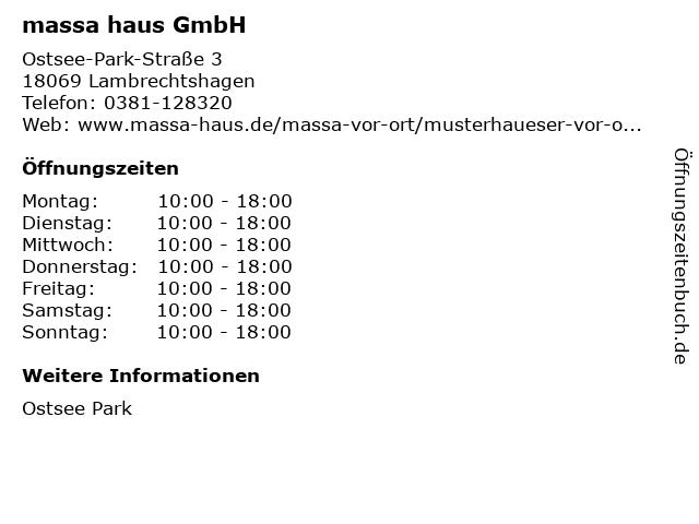 massa haus GmbH in Lambrechtshagen: Adresse und Öffnungszeiten