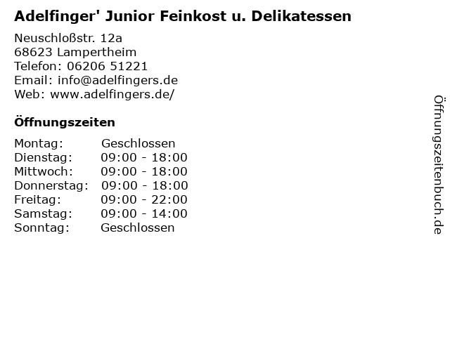 Adelfinger' Junior Feinkost u. Delikatessen in Lampertheim: Adresse und Öffnungszeiten