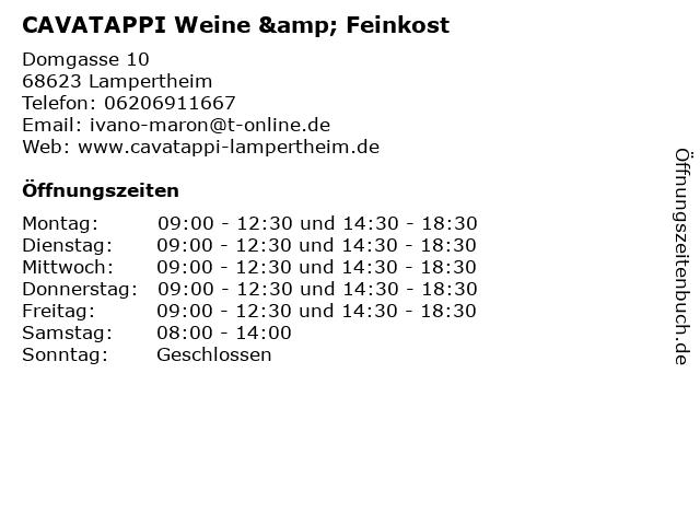 CAVATAPPI Weine & Feinkost in Lampertheim: Adresse und Öffnungszeiten