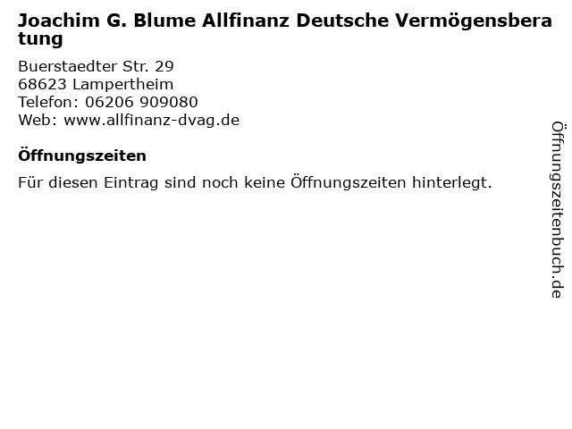 Joachim G. Blume Allfinanz Deutsche Vermögensberatung in Lampertheim: Adresse und Öffnungszeiten