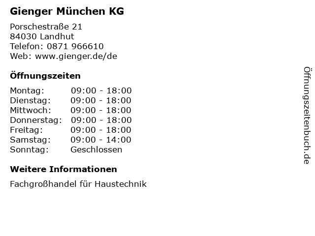 Gienger München KG in Landhut: Adresse und Öffnungszeiten