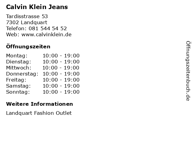 Calvin Klein Jeans in Landquart: Adresse und Öffnungszeiten