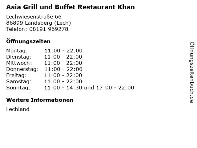 Asia Grill und Buffet Restaurant Khan in Landsberg (Lech): Adresse und Öffnungszeiten