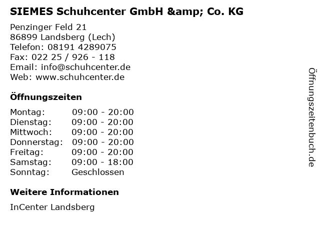 SIEMES Schuhcenter GmbH & Co. KG in Landsberg (Lech): Adresse und Öffnungszeiten
