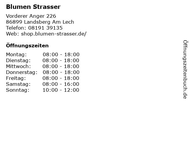 Blumen Strasser in Landsberg Am Lech: Adresse und Öffnungszeiten