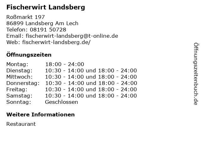 Fischerwirt Landsberg in Landsberg Am Lech: Adresse und Öffnungszeiten