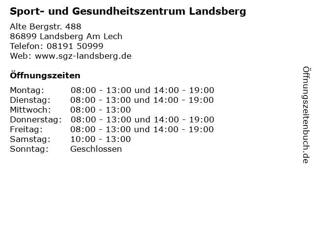 Sport- und Gesundheitszentrum Landsberg in Landsberg Am Lech: Adresse und Öffnungszeiten