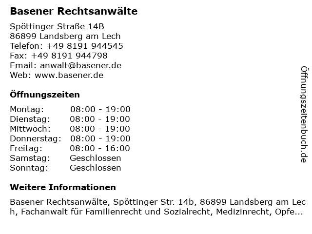 Basener Rechtsanwälte in Landsberg am Lech: Adresse und Öffnungszeiten