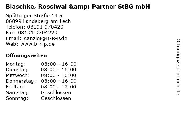 Blaschke, Rossiwal & Partner StBG mbH in Landsberg am Lech: Adresse und Öffnungszeiten