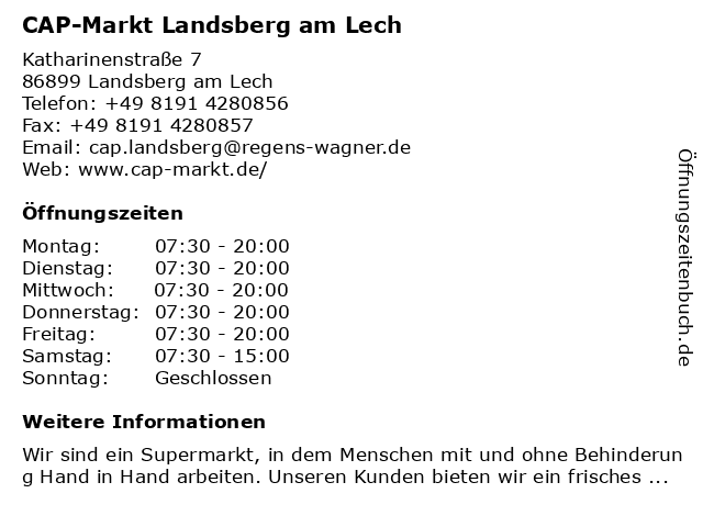 CAP-Markt Landsberg am Lech in Landsberg am Lech: Adresse und Öffnungszeiten