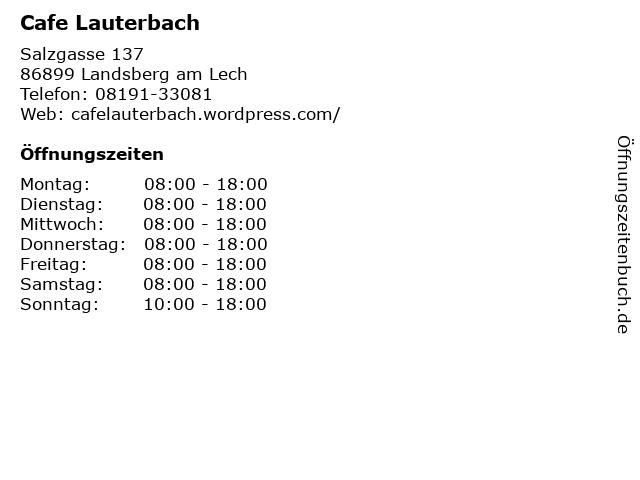 Cafe Lauterbach in Landsberg am Lech: Adresse und Öffnungszeiten