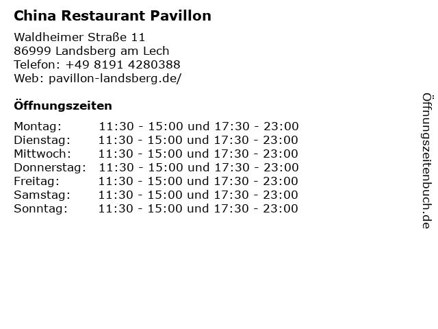 China Restaurant Pavillon in Landsberg am Lech: Adresse und Öffnungszeiten