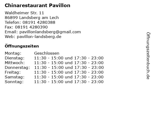 Chinarestaurant Pavillon in Landsberg am Lech: Adresse und Öffnungszeiten