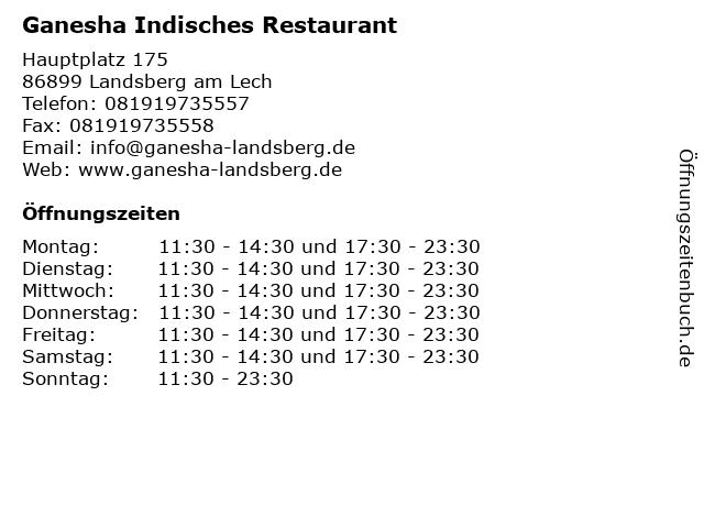 Ganesha Indisches Restaurant in Landsberg am Lech: Adresse und Öffnungszeiten