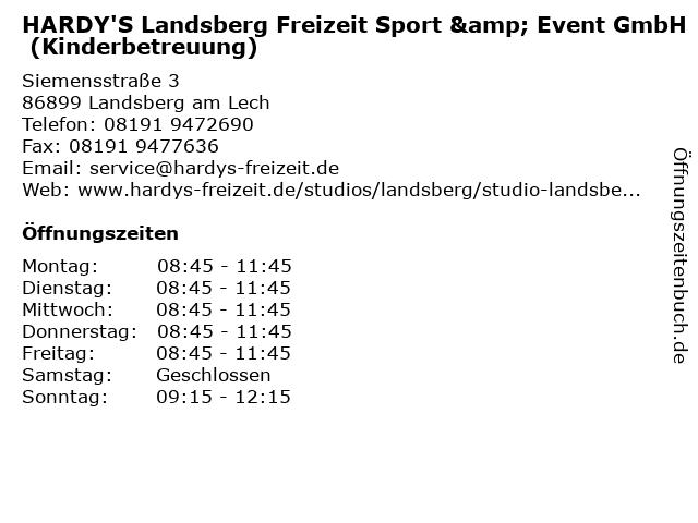 HARDY'S Landsberg Freizeit Sport & Event GmbH (Kinderbetreuung) in Landsberg am Lech: Adresse und Öffnungszeiten