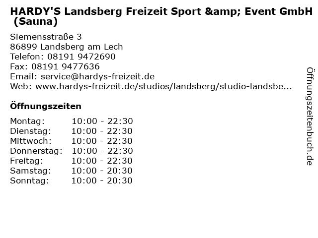HARDY'S Landsberg Freizeit Sport & Event GmbH (Sauna) in Landsberg am Lech: Adresse und Öffnungszeiten