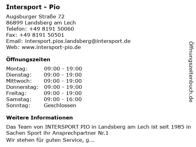 Intersport - Pio in Landsberg am Lech: Adresse und Öffnungszeiten