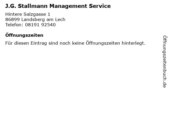 J.G. Stallmann Management Service in Landsberg am Lech: Adresse und Öffnungszeiten