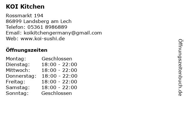 KOI Kitchen in Landsberg am Lech: Adresse und Öffnungszeiten