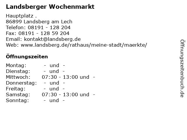Landsberger Wochenmarkt in Landsberg am Lech: Adresse und Öffnungszeiten