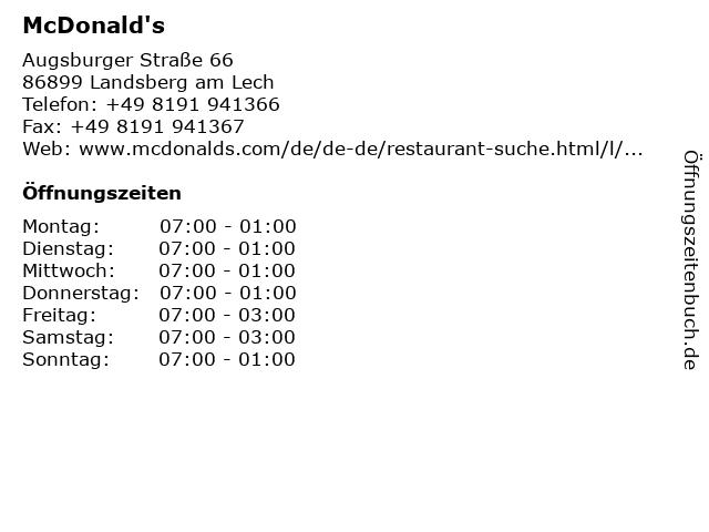 McDonald's in Landsberg am Lech: Adresse und Öffnungszeiten