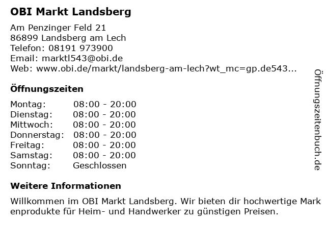 OBI Markt Landsberg in Landsberg am Lech: Adresse und Öffnungszeiten
