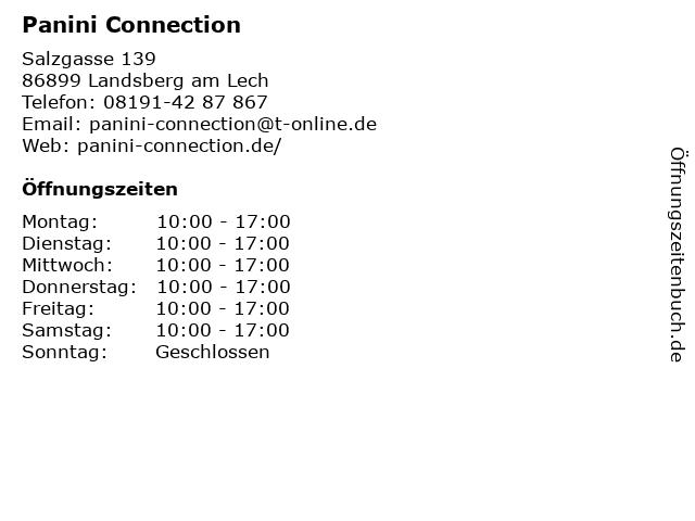 Panini Connection in Landsberg am Lech: Adresse und Öffnungszeiten