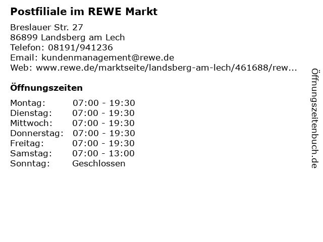Postfiliale im REWE Markt in Landsberg am Lech: Adresse und Öffnungszeiten