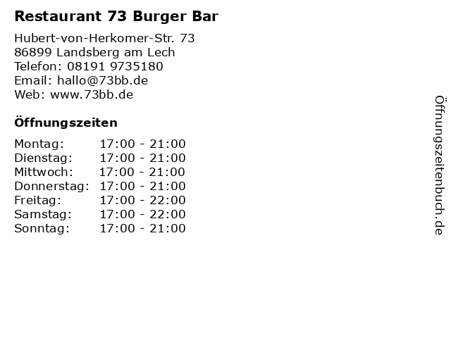 Restaurant 73 Burger Bar in Landsberg am Lech: Adresse und Öffnungszeiten