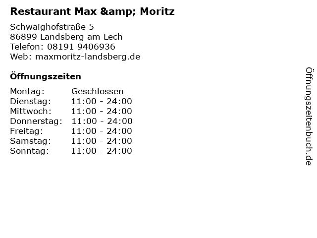 Restaurant Max & Moritz in Landsberg am Lech: Adresse und Öffnungszeiten