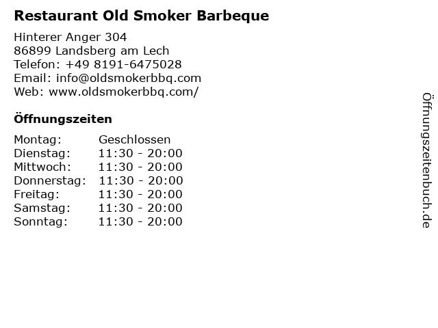 Restaurant Old Smoker Barbeque in Landsberg am Lech: Adresse und Öffnungszeiten