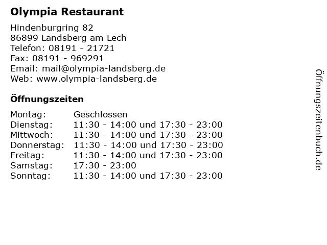 Restaurant Olympia in Landsberg am Lech: Adresse und Öffnungszeiten