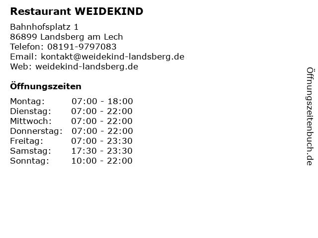 Restaurant WEIDEKIND in Landsberg am Lech: Adresse und Öffnungszeiten